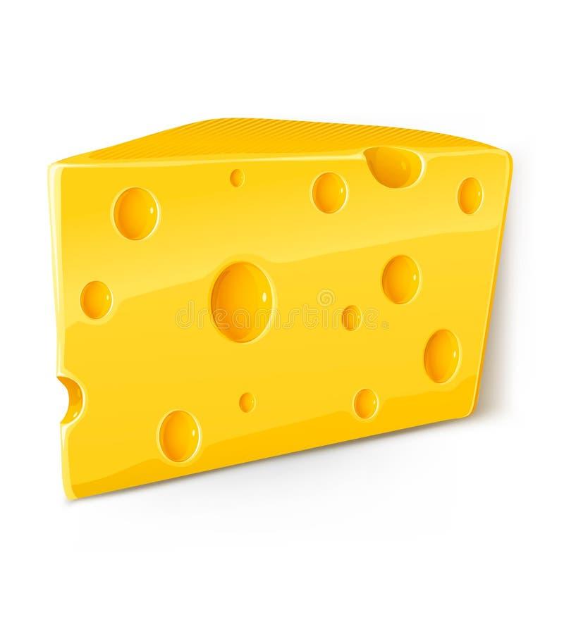 blanc de vecteur de partie d'isolement par nourriture de fromage illustration de vecteur