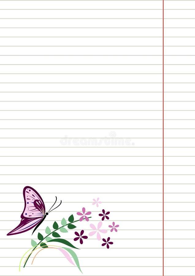 Blanc de vecteur pour la lettre ou la carte de voeux Papier de carnet, forme blanche avec des lignes, papillon et fleurs avec des illustration stock