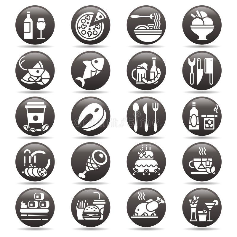 Blanc de vecteur sur l'ensemble noir de bouton de cercle d'icônes et d'éléments plats au sujet de nourriture et boisson pour le m illustration de vecteur