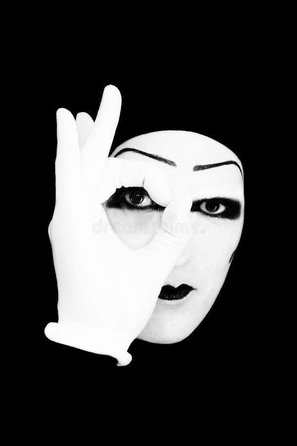 blanc de verticale de pantomime de gants photos libres de droits