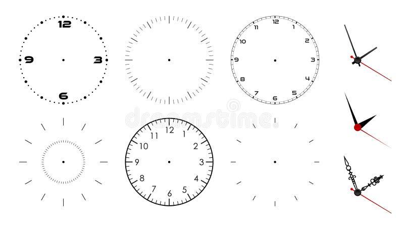 Blanc de visage d'horloge d'isolement sur le fond blanc Mains d'horloge de vecteur Réglé pour la conception de montre illustration stock