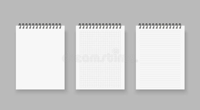 Blanc des carnets réalistes rayés et de la page de papier de points d'isolement sur le fond transparent blanc en spirale maigre d illustration stock