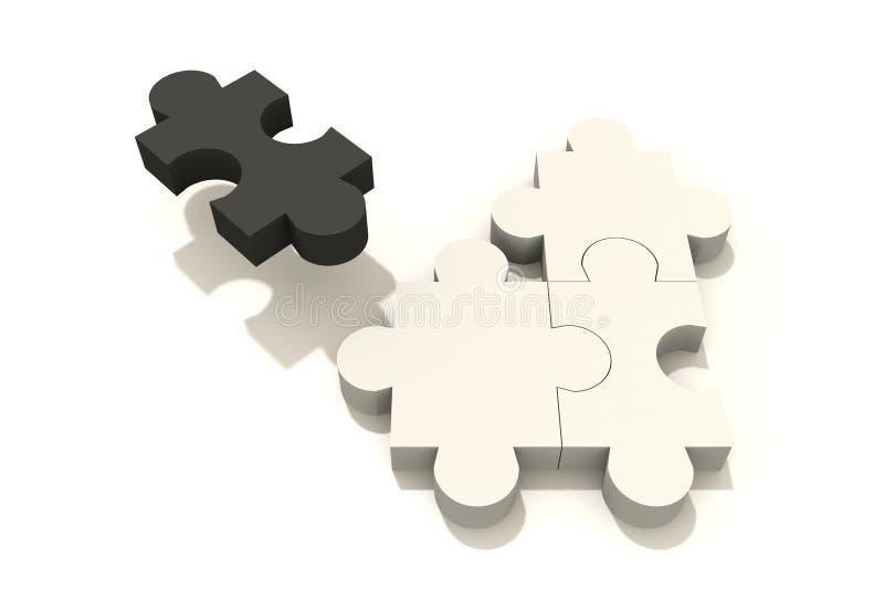 Blanc du noir trois du puzzle un illustration de vecteur
