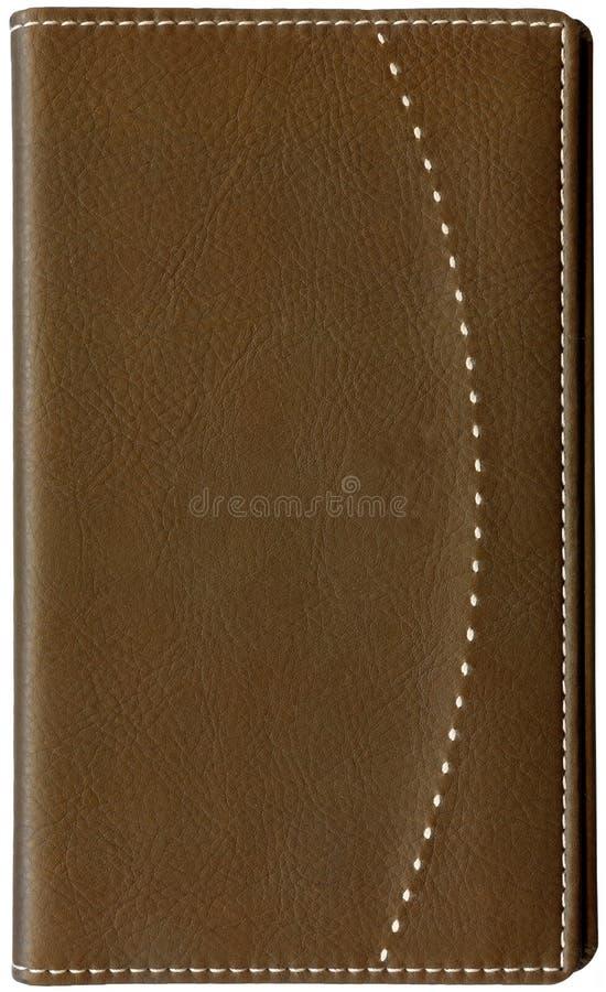 blanc en cuir de note d'isolement par brun de livre photographie stock