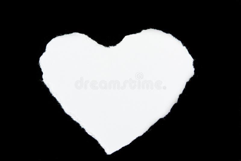Blanc en forme de coeur de papier de déchirure photographie stock libre de droits