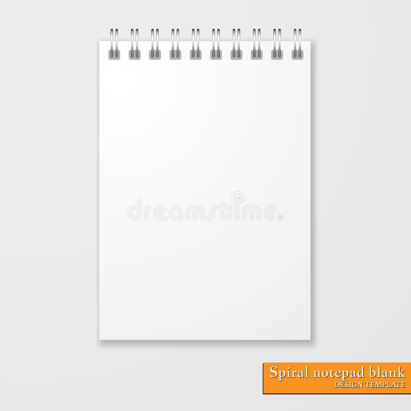 Blanc en spirale réaliste de bloc-notes sur le fond blanc Vecteur illustration libre de droits