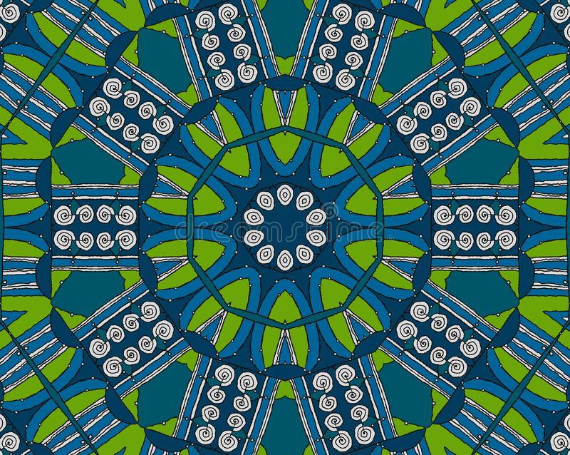 Blanc en spirale sans couture de vert bleu de modèle illustration libre de droits