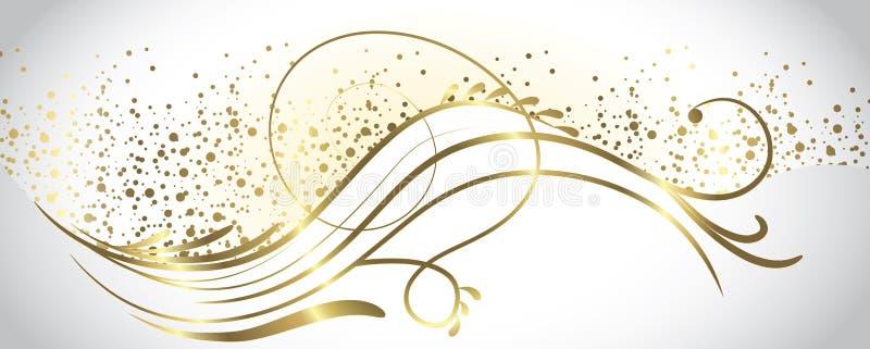 Blanc et bannière d'or illustration de vecteur