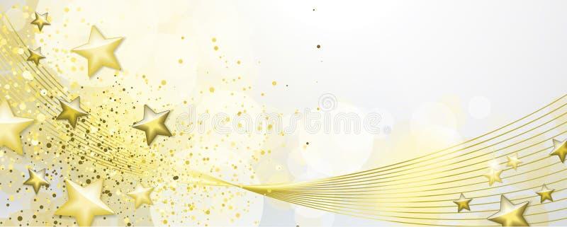 Blanc et bannière d'or illustration stock