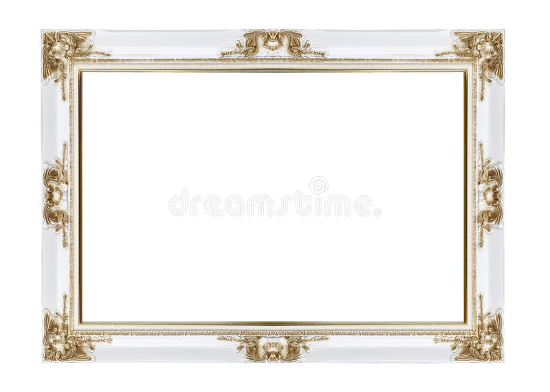 Blanc et cadre classique de vintage d'or photo stock