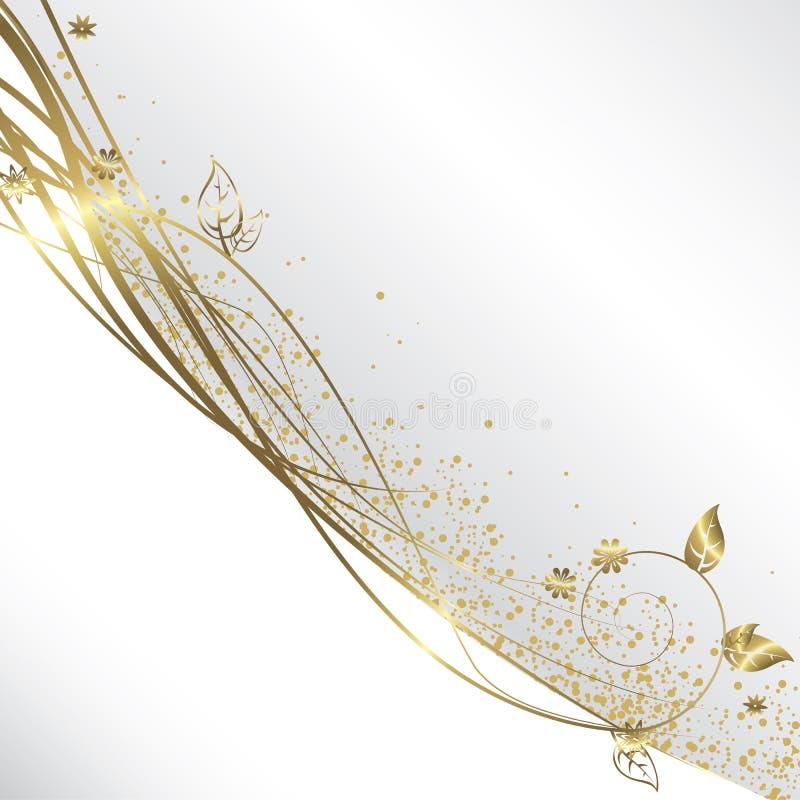 Blanc et fond d'or illustration de vecteur