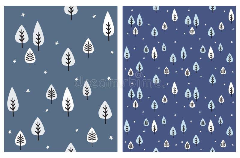 Blanc et Gray Trees Isolated sur un fond bleu-foncé Placez des modèles sans couture de vecteur abstrait d'arbre illustration de vecteur