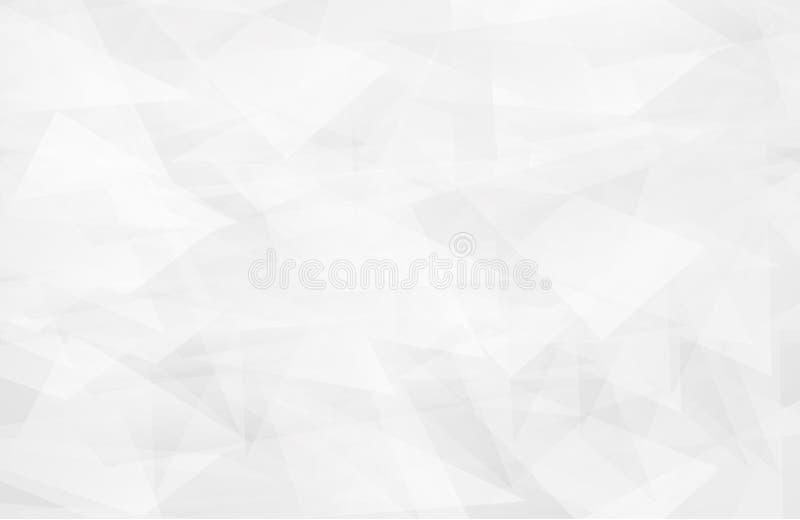 Blanc géométrique de conception de vecteur L'intérieur blanc abstrait accentue l'avenir fond gris, illustration libre de droits