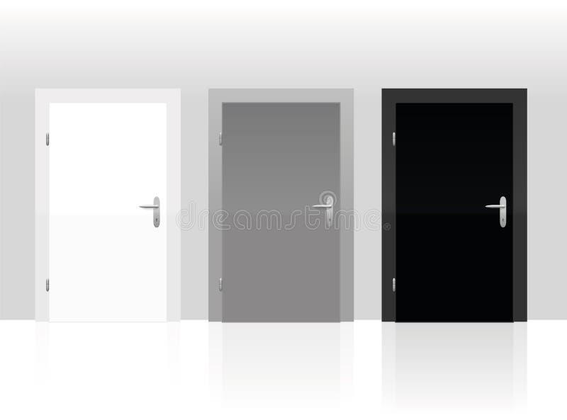 Blanc Gray Black Closed de trois portes illustration stock