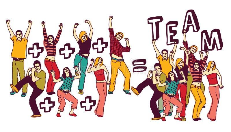 Blanc heureux d'isolat de couleur des jeunes de groupe d'équipe illustration de vecteur