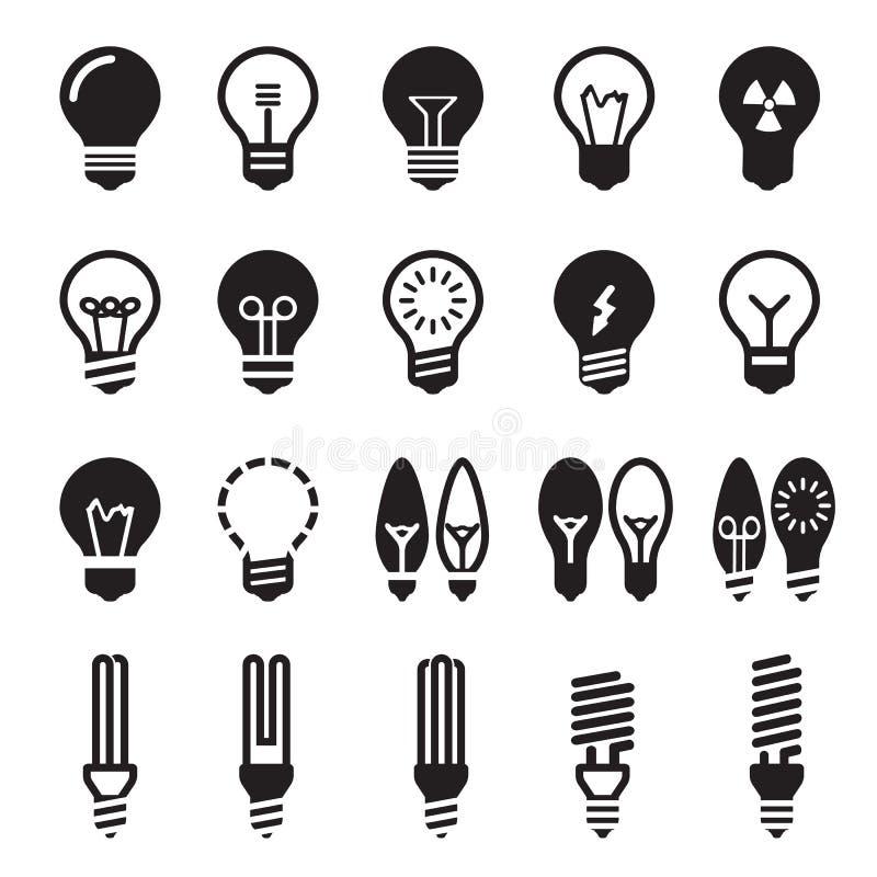 blanc léger d'isolement par ampoules Ensemble d'icône d'ampoule illustration de vecteur