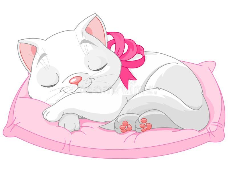 blanc mignon de chat illustration stock