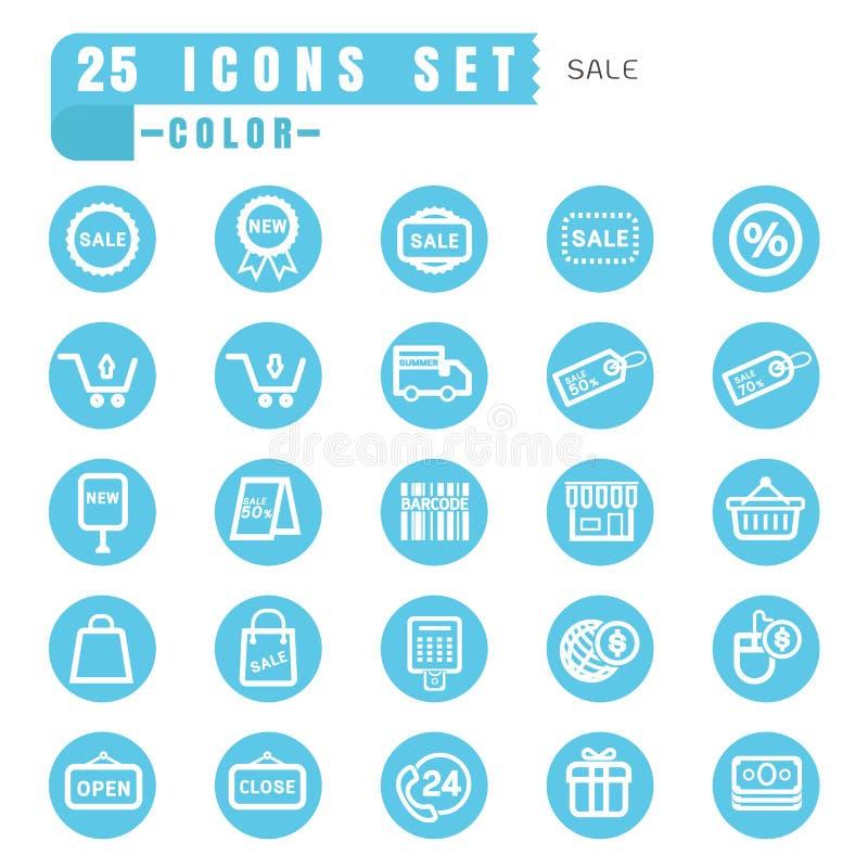 Blanc mince de couleur de vente d'icônes dans le bleu de cercle sur le backgrou blanc illustration de vecteur