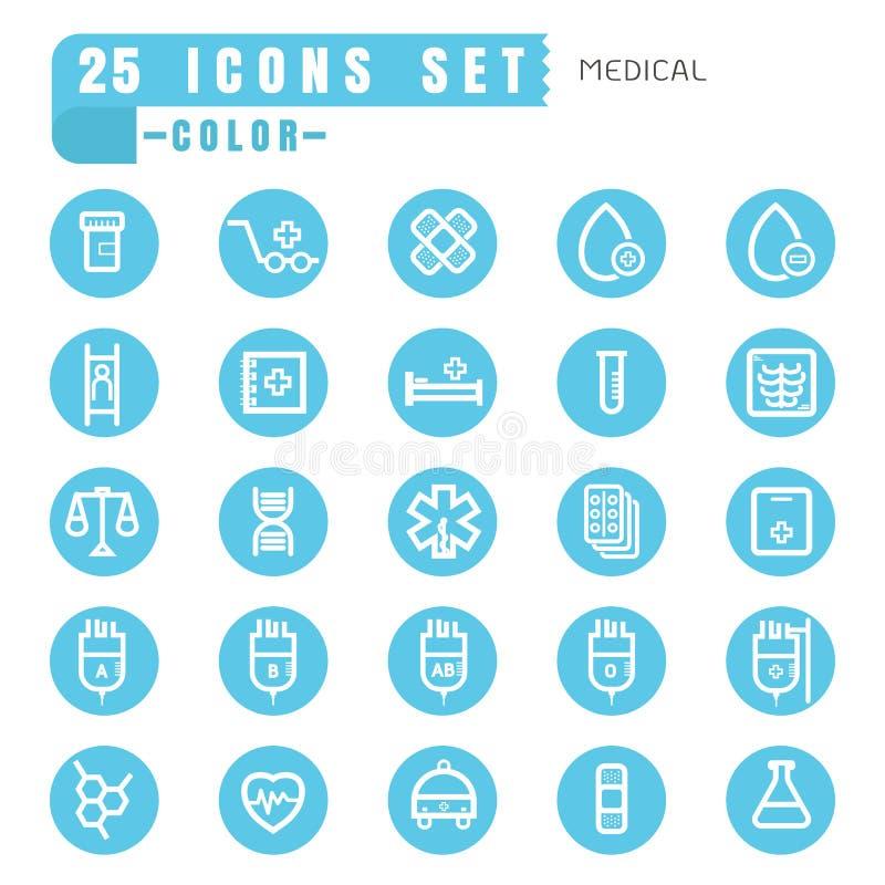 Blanc mince de couleur médicale d'icônes dans le bleu de cercle sur le backg blanc illustration libre de droits