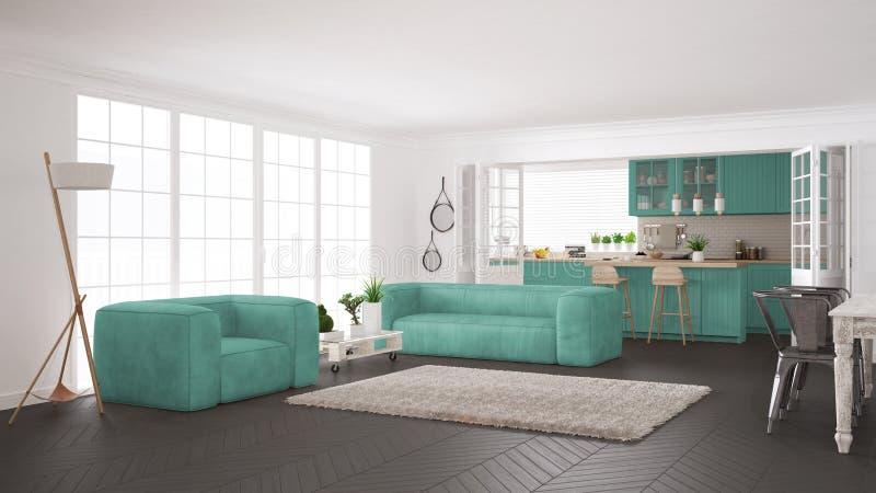 Blanc minimaliste et vie et cuisine de turquoise, scandinaves illustration de vecteur
