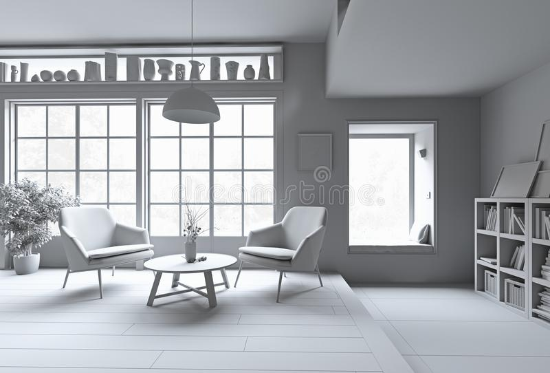 blanc moderne intérieur illustration stock