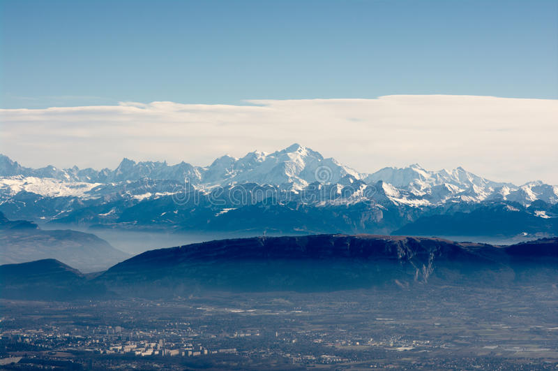 blanc mont πανοραμική όψη στοκ εικόνα με δικαίωμα ελεύθερης χρήσης