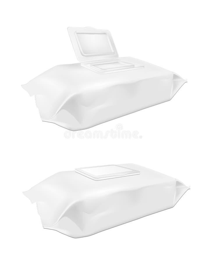 Blanc mouillez le paquet de chiffons avec l'aileron illustration libre de droits