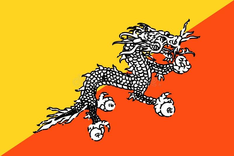 blanc national d'illustration d'indicateur du Bhutan de fond illustration libre de droits