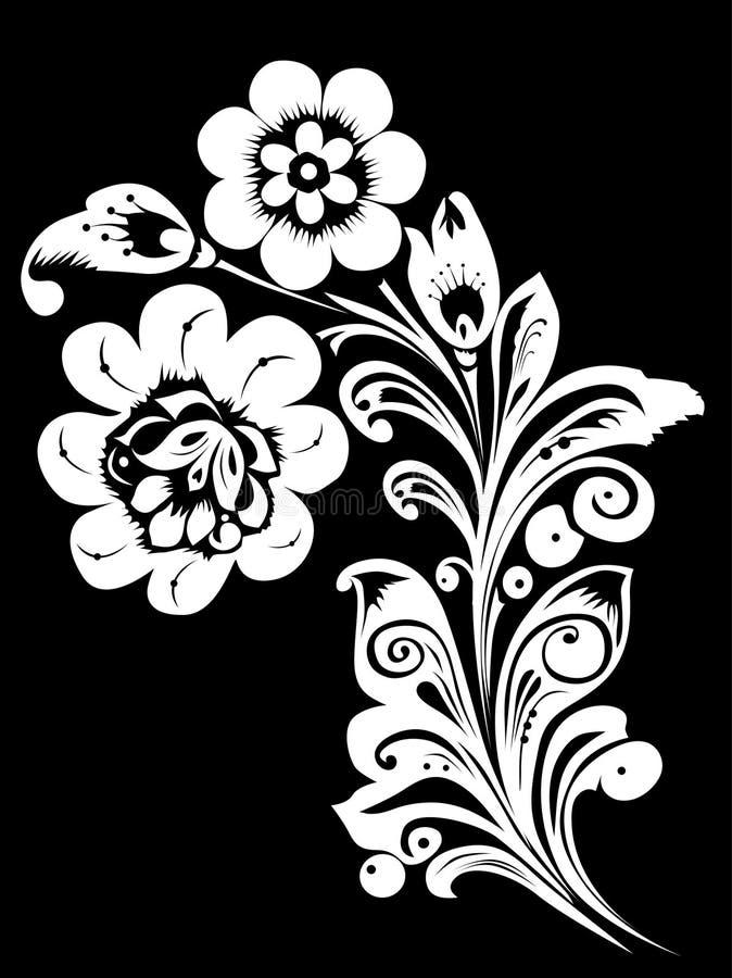 blanc noir de configuration de fleurs illustration stock