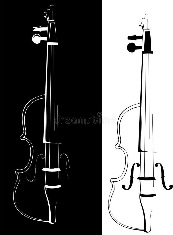 blanc noir de violon de fond illustration stock