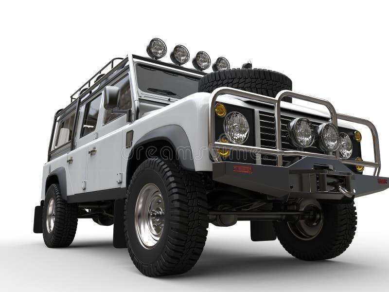 Blanc outre du plan rapproché automobile d'entraînement à quatre roues de route court illustration de vecteur