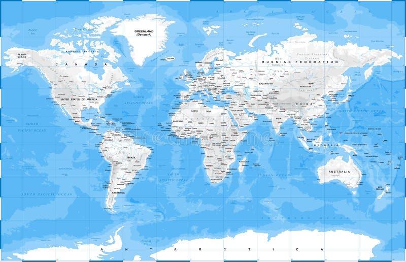 Blanc physique de carte du monde - illustration de vecteur