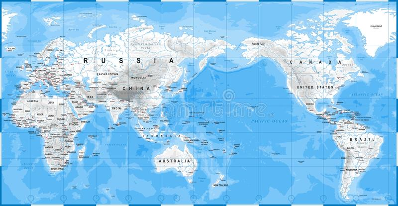 Blanc physique de carte du monde - Asie au centre - la Chine, Corée, Japon illustration de vecteur