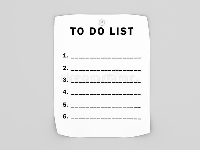 Blanc pour faire la liste illustration stock