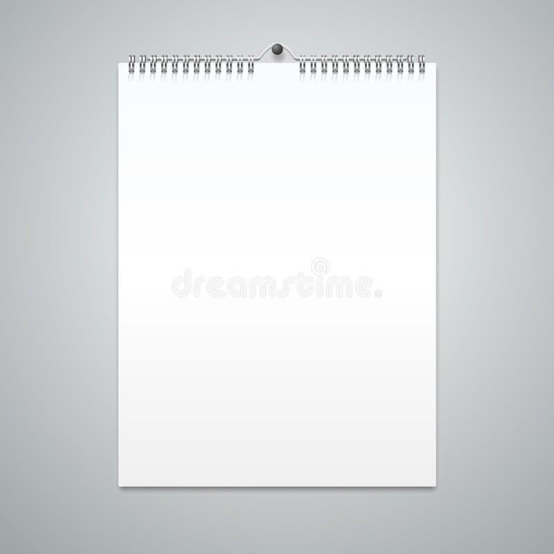 Blanc réaliste de calibre de calendrier Vecteur illustration libre de droits