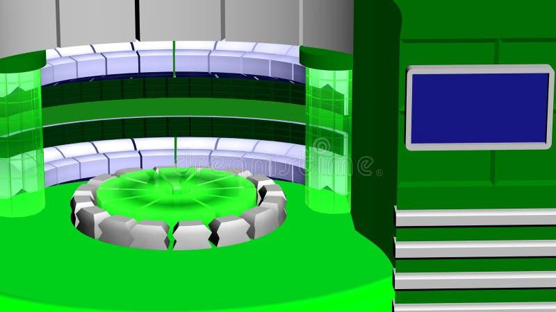 Blanc radial de vert de fond d'actualités virtuelles de TV illustration libre de droits