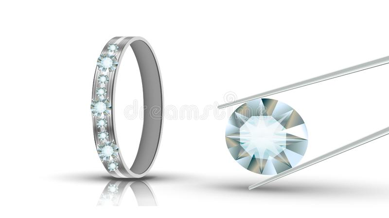 Or blanc Ring Decorated Diamonds Round Vector illustration stock