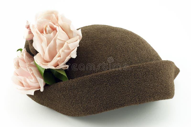 blanc rose de cru de roses de dames de chapeau images libres de droits