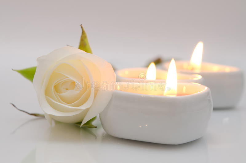 Blanc rose et bougies photo stock