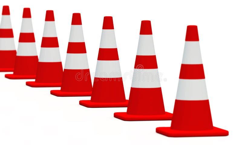 blanc rouge 10 des cônes 3D illustration stock