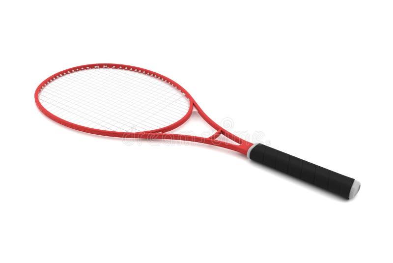 blanc rouge d'isolement de tennis de raquette photo stock