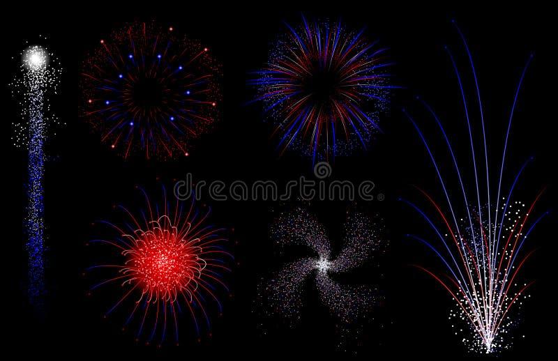 blanc rouge de feux d'artifice bleus illustration libre de droits