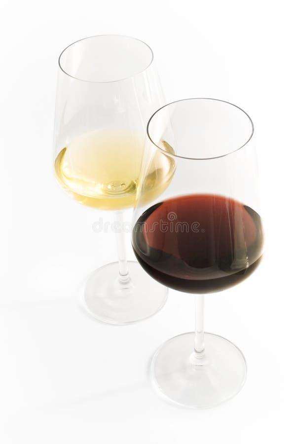 Blanc rouge en verre de vin image libre de droits