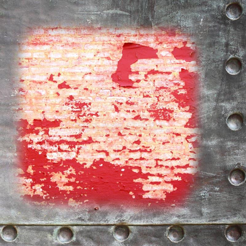 Blanc rouge grunge de mur de briques avec le fond de frontière de cadre en métal image libre de droits