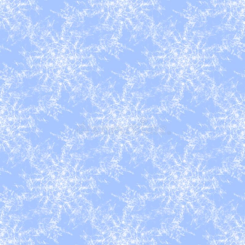 Blanc sans couture régulier de modèle de flocons de neige sur bleu-clair illustration de vecteur