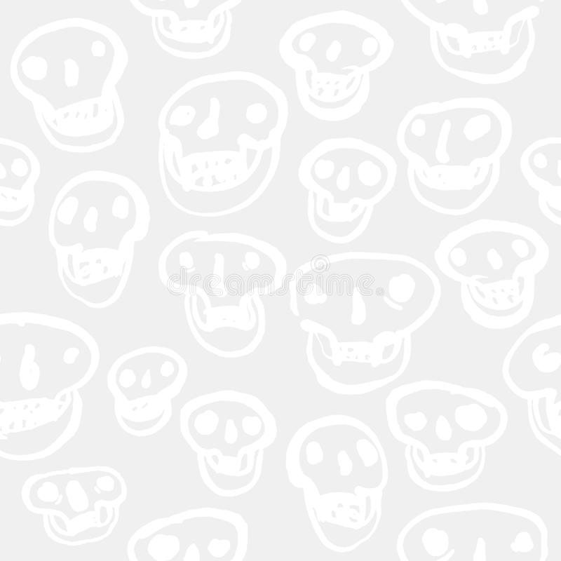 Blanc sur le modèle blanc de crânes illustration de vecteur