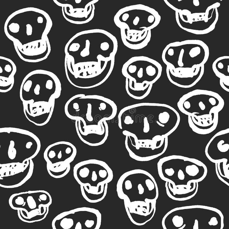 Blanc sur le modèle noir de crânes illustration stock