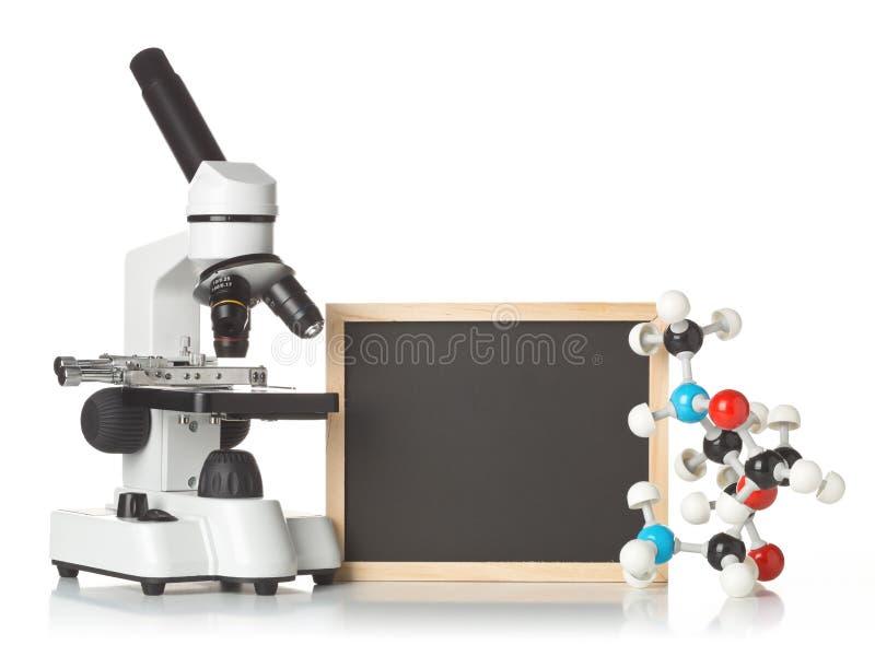 Blanc, tableau vide et noir avec le microscope, modèle de molécule et modèle d'ADN au-dessus de blanc images libres de droits