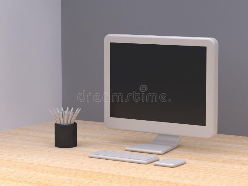 Blanc tout dans un style noir de bande dessinée de pot d'arbre d'ordinateur sur le fond gris minimal 3d d'abrégé sur en bois p illustration de vecteur