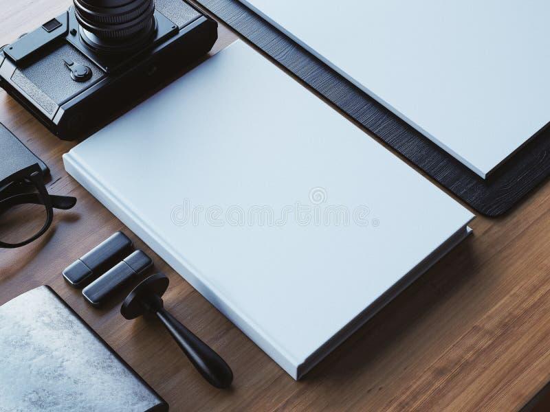 Blanc-Weißbuch auf dem braunen hölzernen Hintergrund 3d lizenzfreie stockfotografie